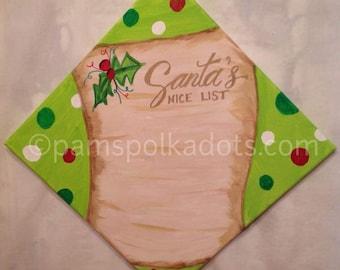 Handmade Personalized Original Painting SANTA'S NICE LIST Wall Art 12x12 Acrylic *Frame Ready* Christmas Decor