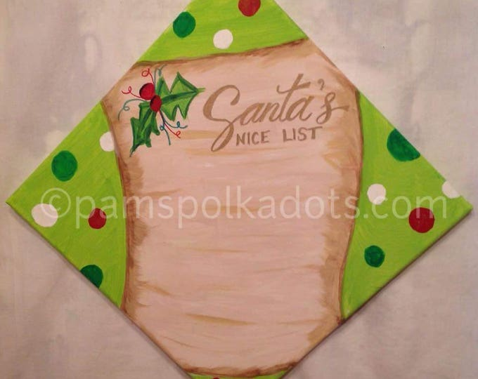 Handmade Personalized Original Painting SANTA'S NICE LIST Wall Art 12x12 Acrylic *Frame Ready* Christmas Decor
