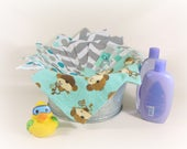 Cloth Wipes, Washcloths, Burp Cloths, Handkerchiefs Set of 12 in Turquoise and Gray Prints