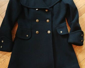 Mod double breasted black wide lapel pea coat