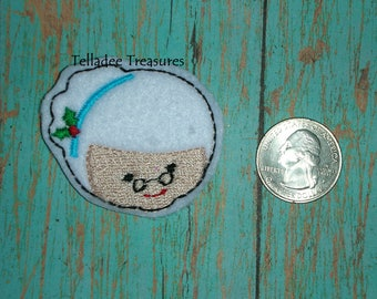 Mrs Claus Head feltie - White felt - Great for Hair Bows, Reels, Clips and Crafts - Mother Christmas