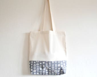 Shopper eco friendly tote market bag accent novelty diamond gem print cotton zero waste produce shoulder bag in grey and white.