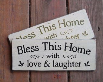 Bless This Home with Love & Laughter Wood Sign