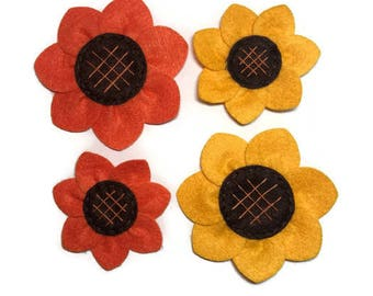 Orange or Yellow Sunflower Dog Collar Flower Adornment Removable
