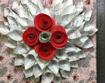 Vintage Hymnal Heart Wreath, Rolled Hymnal Cones, Christian - Gift