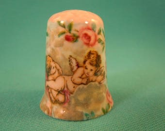 Thimble Bone China  with Angels and Flowers