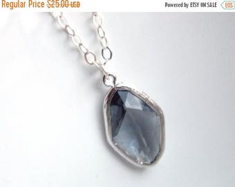 SALE Gray Necklace, Glass Necklace, Sterling Silver, Grey, Charcoal, Wedding Jewelry, Bridesmaid Necklace, Bridal Necklace, Bridesmaid Gifts