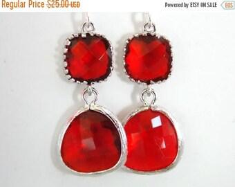 SALE Red Earrings, Glass Earrings, Silver Earrings, Scarlet, Ruby, Wedding, Bridesmaid Earrings, Bridal Earrings Jewelry, Bridesmaid Gifts
