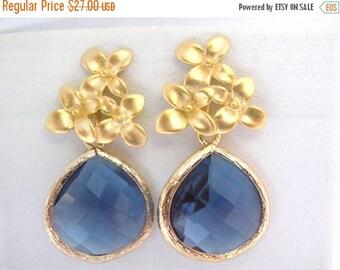 SALE Blue Earrings, Glass Earrings, Flower Earrings, Montana Blue, Gold Earrings, Bridesmaid Earrings, Bridal Earrings Jewelry, Bridesmaid G