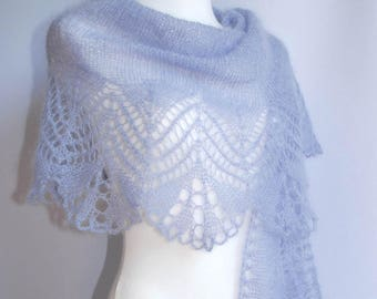 Lavender blue hand knitted lace wedding shawl, alpaca stole,  MADE TO ORDER