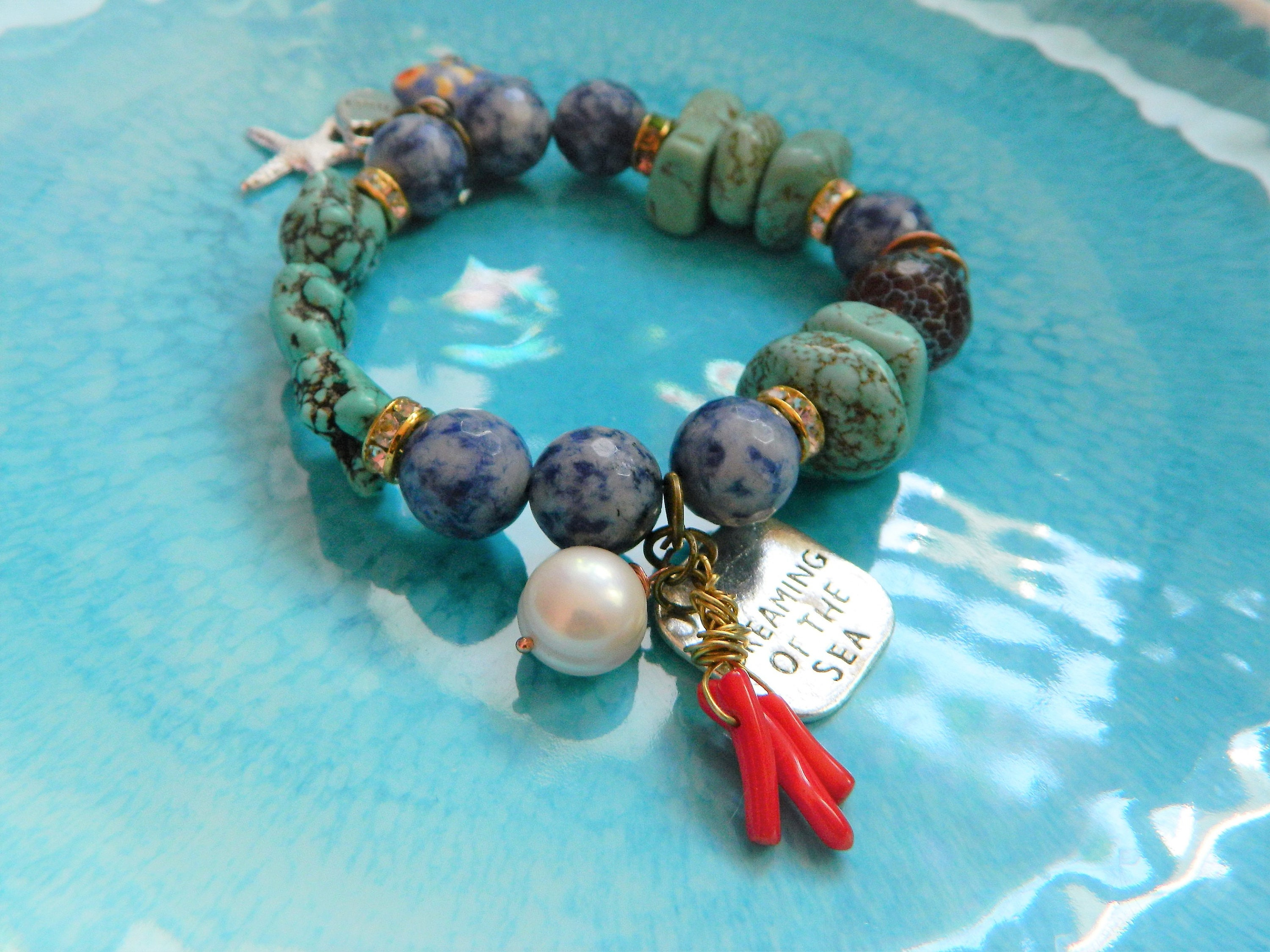 semi precious bracelet goldstone pin and beachy free layering beaded turquoise