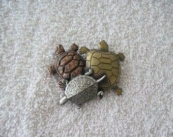 Turtle Trio Pin Brooch Vintage Jewelry Reptile Silver Bronze Copper Tones