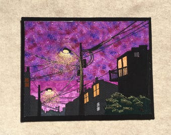 We See By Street Light, 11x14 inches, original sewn fabric artwork, handmade, freehand appliqué, ready to hang canvas