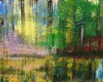 "Original Abstract Impressionist Painting ""Mystic Swamp"" 11x14"