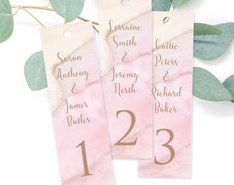 Semi Custom Bookmark Seating Tags, Precious Stone, Rose Gold and Pinks Modern Design