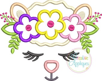 Lamb Face with a Crown of Flowers - Appliqued and Personalized