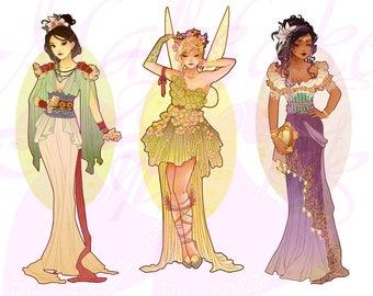 Full Set 2 Princesses Mucha Style CROSS STITCH PATTERNS Mulan, Tinkerbell, Esmeralda, Original Art by Hannah Alexander