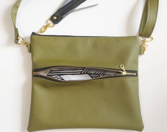 46d8ec8920 Olive green faux leather crossbody hipster with black and white arrow print
