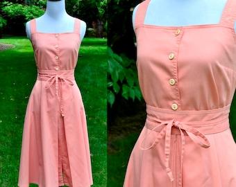 1970's Peach Cotton Dress With Jacket & Belt / Vintage Caron Pink Day Dress / Size 8/10