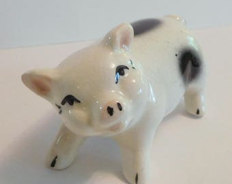 PIG Gloucester Old Spot Vintage Figurine White Ceramic Black Spotted Pig - Sweet