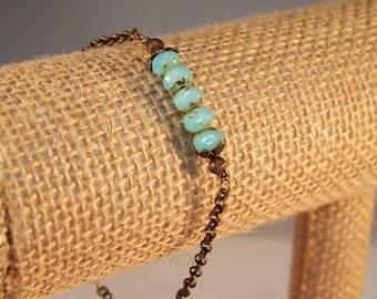 Czech Bead Bar Bracelet Czech Glass Bracelet Minimalist Bracelet Boho Bracelet  Chain Bracelet Antiqued Brass Chain Bracelet Gift for Her