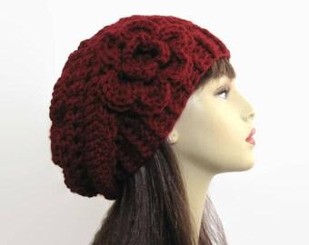 Crochet Slouch Hat with Flower Burgundy Hat Dark Red Slouch Hat Knit slouch Beanie Maroon Slouch Hat Wine Beanie  Women's Slouchy Tam