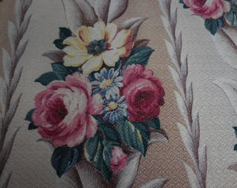 Pair of Vintage GLEN COURT Barkcloth MOCHA with Cabbage Roses, Florals and Fronds Drapes / Drapery Panels