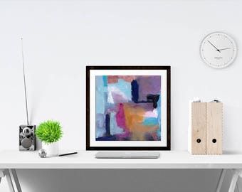Purple and Teal Abstract Print   abstract art   blue decor   features purple   urban art   wall art