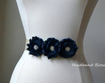 SALE Flower Girl - Bridesmaid Navy Chiffon Flower Sash - Wedding Belt - Satin Ribbon Bridal Sash - Prom Sash - Wedding Dress Sash - Dark Blu