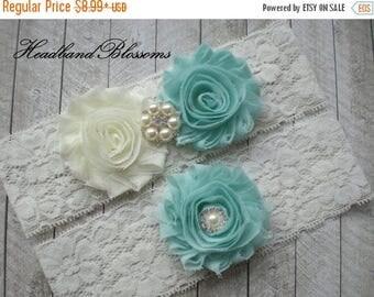 SALE Beautiful SEAFOAM Bridal Garter Set - Ivory Keepsake & Toss Wedding Garters - Chiffon Frayed Flowers Rhinestone Garters Ivory Blue Gree