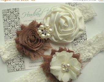 SALE MOCHA Bridal Garter Set - Ivory Keepsake & Toss Wedding Garters - Chiffon Flower Rhinestone Lace Garter - Vintage Lace Garter