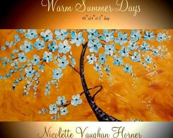 "SALE XLarge Aqua Blossom Tree Oil Landscape Abstract Original 48"" palette knife oil  impasto oil painting by Nicolette Vaughan Horner"