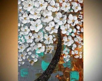 "SALE SALE 24"" Original Modern palette knife impasto oil painting Weeping White Cherry Tree,grey,white,rust,seafoam by Nicolette Vaughan Horn"