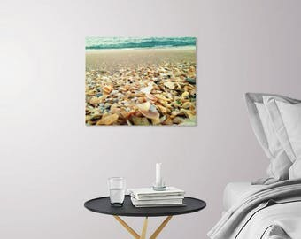 Beach Seashell Photography Prints | Teal Ocean Waves Turquoise Sea | Beach House Decor | Beach Photo Wall Art | Beach Theme Coastal Decor