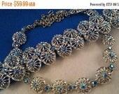ON SALE Vintage Blue Aurora Borealis Rhinestone Necklace Earring Set - 1940's 1950's Art Deco Jewelry - Vintage Bridal Wedding Jewelry - Dem