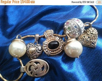 Now On Sale Vintage Pendant Lot ** Rhinestone Faux Pearl Hearts Pendant Charm Necklace ** Lot of 8 ** Vintage Valentine's Day Jewelry