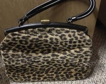 On Sale MOD Vintage 1960's Cat Faux Fur Handbag by Ingber - Rockabilly Pin Up Glamour Girl Leopard Cheetah Large Purs