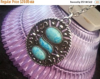 On Sale Vintage Aqua Lucite Necklace 1970's Collectible Unisigned Sarah Coventry Jewelry