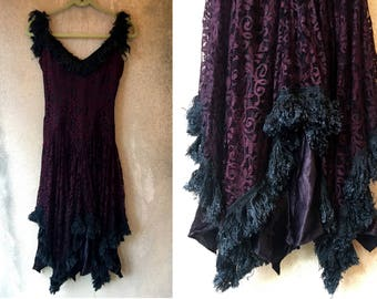 Black LACE Feather Chic Sexy Fancy Assymetrical Formal Flapper Dress