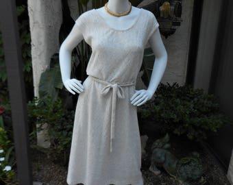 Vintage 1970's an Oatmeal Knit Dress - Size 10/12