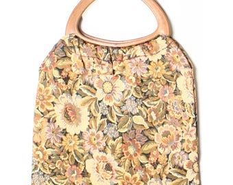 Vintage 60s Brown Floral Woven Tapestry Tote Shopper Knitting Bag