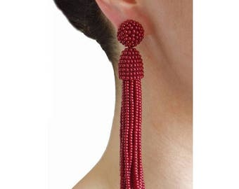 ON SALE Cherry beaded tassel Earrings with CLIP ons or sterling Silver stud / high quality handmade earrings /Choose your length: 3, 4 or 5'