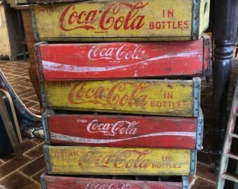 Choose 1-5 Coca Cola Red or Yellow original wood Advertising crates Used 24 divided for bottles