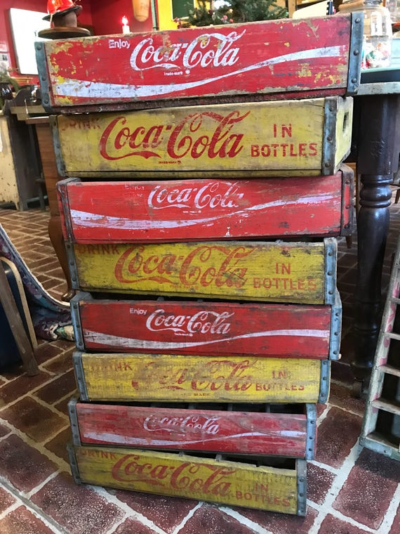Coca Cola Red & Yellow original wood Advertising crates Used 24 divided for bottles