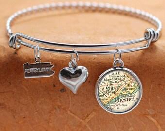 Chester Ridley Park PA Map Charm Bracelet State of Pennsylvania Bangle Cuff Bracelet Vintage Map Jewelry Stainless Steel Bracelet