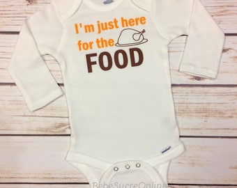 I'm Just Here For The Food, My 1st Thanksgiving Infant Bodysuit, Newborn, Graphic Tee, Holiday, Thanksgiving, Turkey, Gift Set