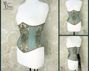 Steampunk Renaissance Seafoam, Ivory, & Antique Gold Steel Boned Corset - You Choose Your Corset Style - Custom Sized