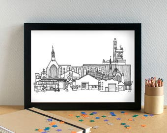 Baltic Triangle Landmarks Print - Baltic Triangle Skyline Art Print - Baltic Triangle Liverpool Art Print - Liverpool Wedding Gift