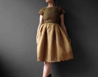 Vintage 60s Hessian Scarecrow Mini Dress Ann Barry Jr Small