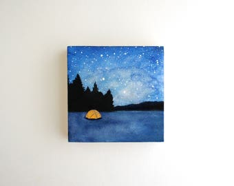 Camping Trip Mixed Media Painting - 4 x 4